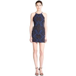 Parker Jaden Geometric Print Halter Sheath Cocktail Dress - l