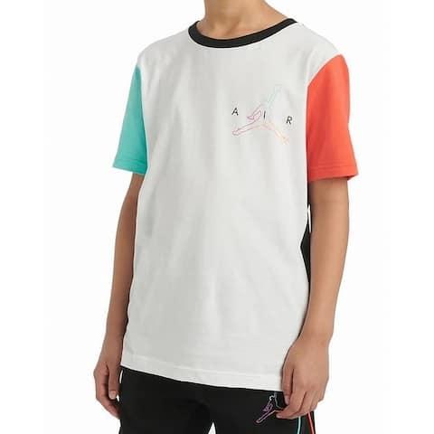 Jordan Boys' T-Shirt White Multi Size XL Air Future Colorblock Logo Tee