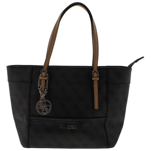 95ac4605d2c Shop Guess Womens Delaney Tote Handbag Faux Leather Signature - Coal ...