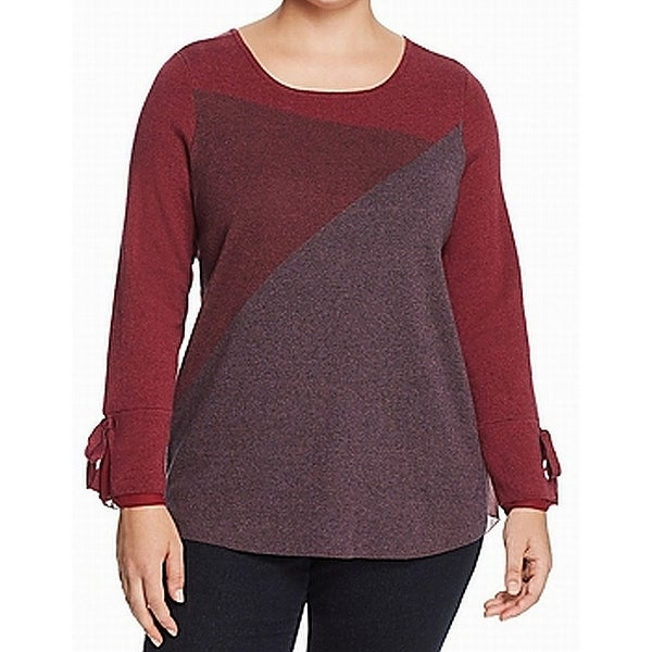 Nic+Zoe Red Womens Size 3X Plus Colorblock Scoop Neck Knit Top
