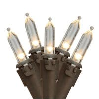 """Set of 35 Clear Mini Christmas Lights 2.75"""" Spacing- Brown Wire"""