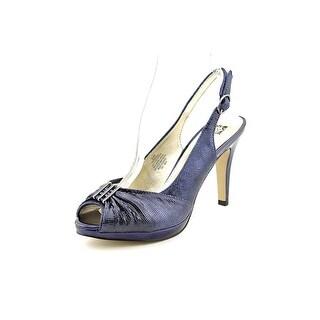 Anne Klein Driscol Women Peep-Toe Leather Blue Slingback Heel
