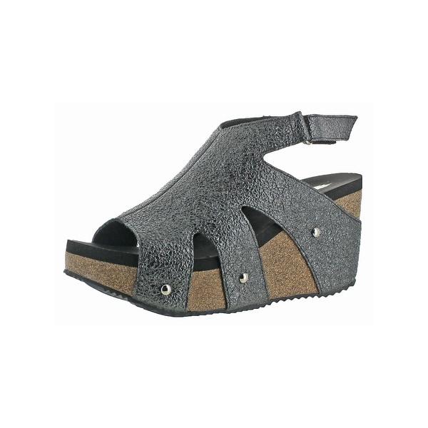 Volatile Womens Spindle Wedge Sandals Open Toe Slingback