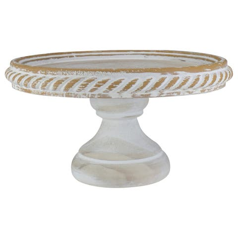 10.75 White Rustic Distressed Cake Stand