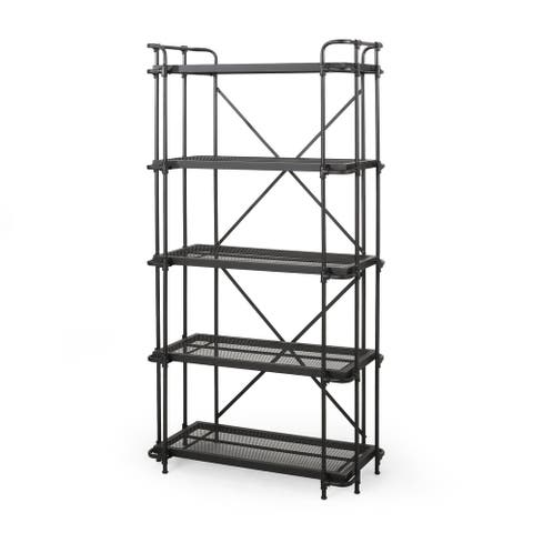 Blackfoot Industrial 5 Shelf Iron Mesh Bookcase by Christopher Knight Home