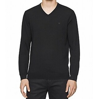 Calvin Klein NEW Black Mens Size XL Pullover V-Neck Wool Sweater