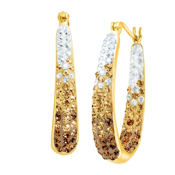 Crystaluxe Oval Hoop Earrings with Swarovski Crystals in 14K Gold-Plated Sterling Silver