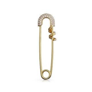 Bling Jewelry 925 Silver Gold Plated Clear CZ Pave Safety Pin Brooch