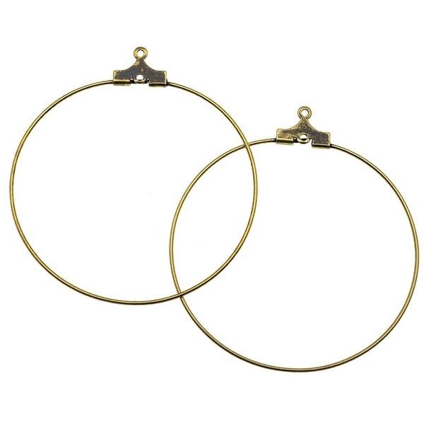 Antiqued Brass Beading Hoop Earring Findings With Loop - 40mm Diameter (12)
