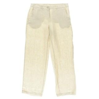 Eileen Fisher Womens Linen Natural Heather Wide Leg Pants