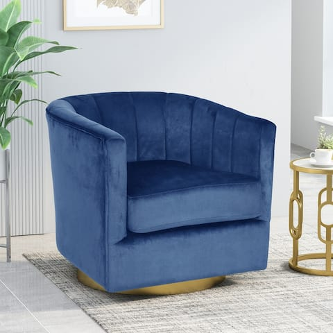 "Conrail Modern Glam Channel Stitch Velvet Swivel Club Chair by Christopher Knight Home - 25.50"" L x 24.75"" W x 24.50"" H"