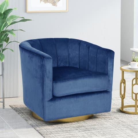 "Conrail Modern Glam Channel Stitch Velvet Swivel Club Chair by Christopher Knight Home - 25.50"" L x 24.75"" W x 24.50"" H"
