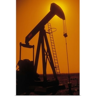 """""""Silhouette of oil pump at sunset"""" Poster Print"""