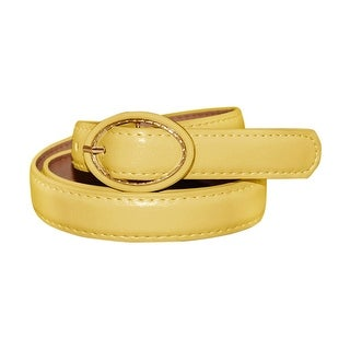 Women Single Pin Buckle Circle Design Adjustable PU Belt Blue