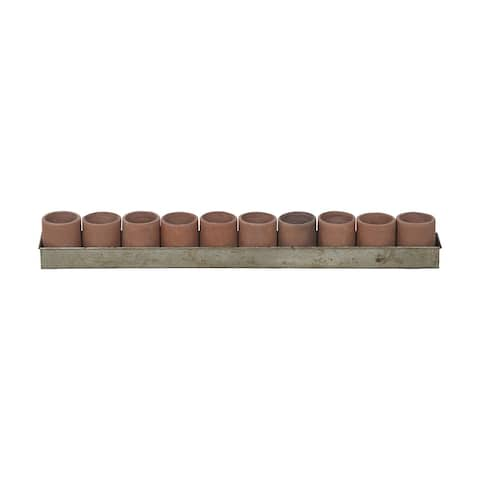 "32"" Brown Terra Cotta Tea Light Ring Candle Holder"