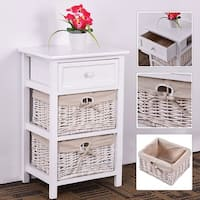 Costway White Night Stand 3 Tiers 1 Drawer Bedside End Table Organizer Wood W/2 Baskets