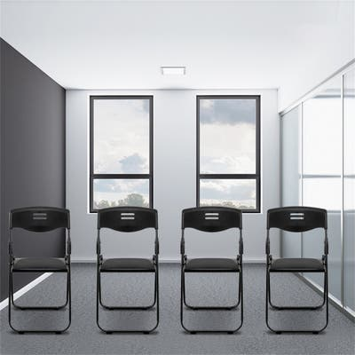 4pcs Office Conference Plastic Folding Chair Living Room Stool Black