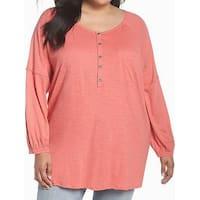 Caslon Pink Scoop Neck Henley Women's Size 2X Plus Knit Top