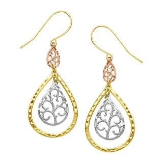 Just Gold Filigree Teardrop Earrings in 10K Three-Tone Gold