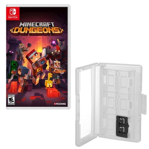 Minecraft Dungeons Game with 12 Game Caddy for Nintendo Switch - Multi-color / Clear