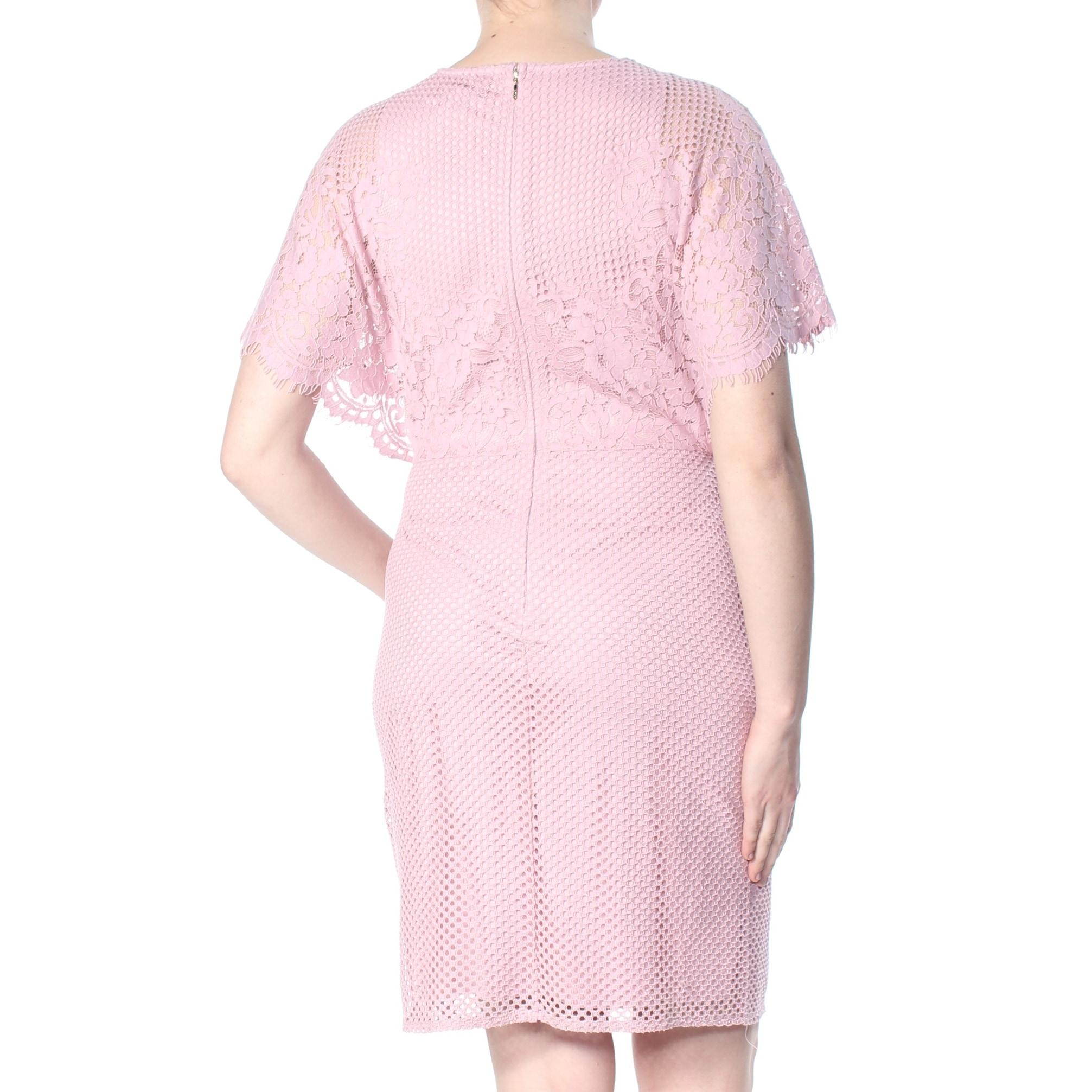 Dkny Womens Pink Lace Flutter Sleeve Jewel Neck Knee Length Sheath Formal Dress Size 12