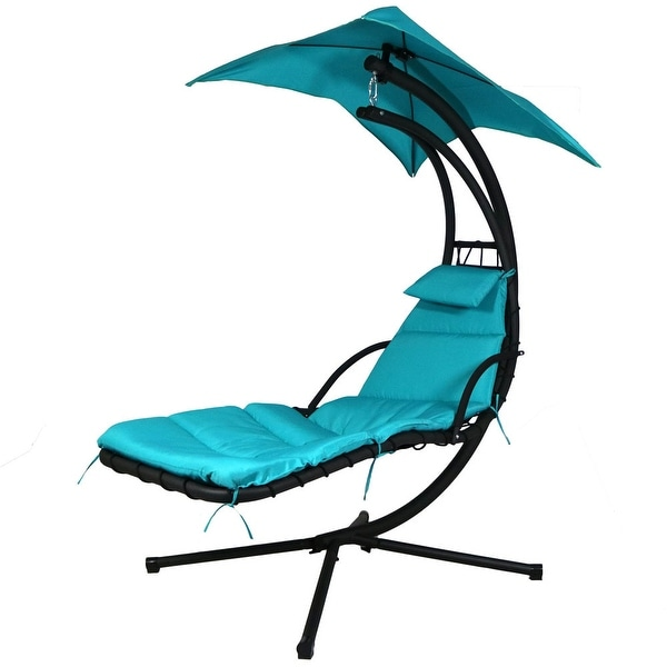 Sunnydaze Floating Chaise Lounger Swing Chair with Canopy Umbrella, 43 Inch Wide x 80 Inch Tall