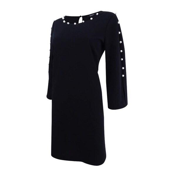 MSK Blue Womens Size Medium M Embellished Bell Sleeve Sheath Dress