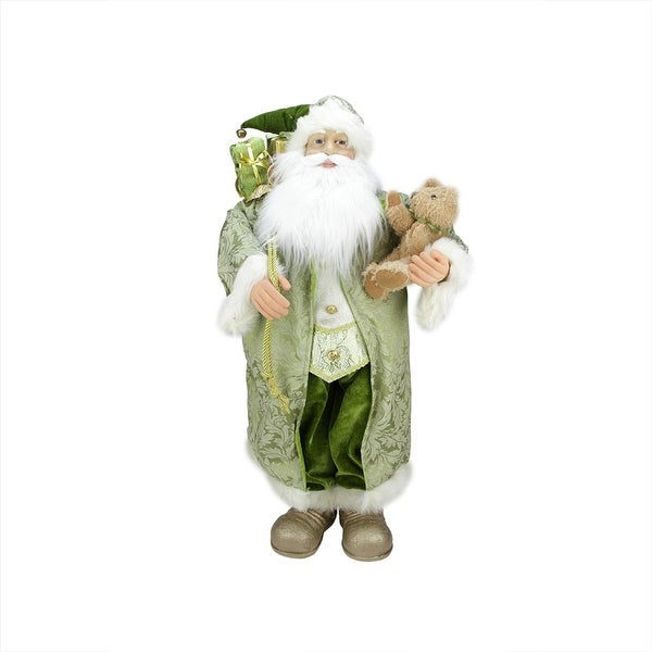 """32"""" St. Patrick's Irish Standing Santa Claus Christmas Figure with Teddy Bear and Gift Bag - green"""