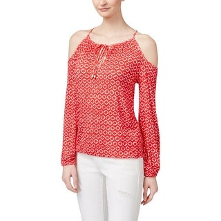 MICHAEL Michael Kors Womens Peasant Top Printed Keyhole