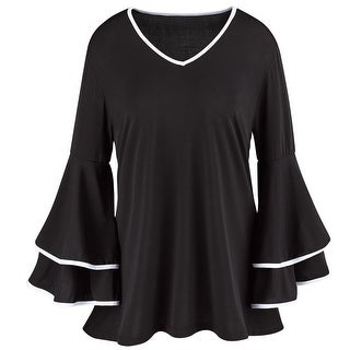 Kaktus Sportswear Women's Top - 3/4 Bell Sleeves With Contrast Piping Shirt