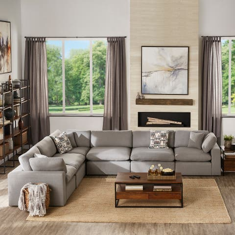 Anka Grey Linen Down Filled Cushioned 6-Seat Sectional Sofa by iNSPIRE Q Modern