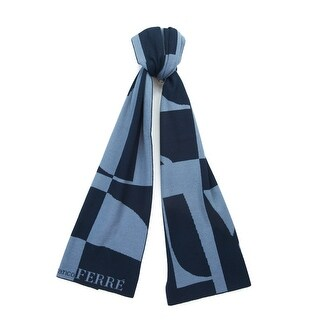 Gianfranco Ferre SCR 01950 Navy/Light Blue Knitted Wool Blend Mens Scarf