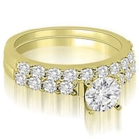 1.45 cttw. 14K Yellow Gold Cathedral  Round Cut Diamond Matching Bridal Set HI, SI1-2