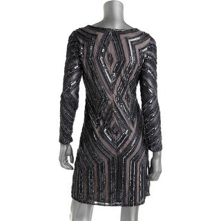 Adrianna Papell Womens Petites Shimmer Sequined Cocktail Dress