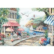 "Cafe By The Sea Counted Cross Stitch Kit-14""X10"" 14 Count"