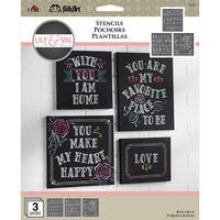 Folkart Stencil Lily & Val 3/Pkg-Welcome