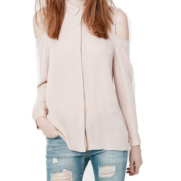 8588dfb91aa0 Shop Rebecca Minkoff NEW Pink Women s Size Medium M Button Down Shirt Silk  - Free Shipping On Orders Over  45 - Overstock.com - 18535115