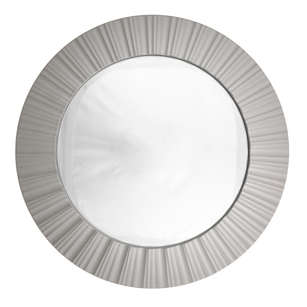"""20"""" Simply Elegant Silver Fluted Frame Decorative Round Wall Mirror"""