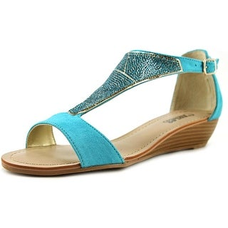 Carlos by Carlos Santana Glisten Women Open Toe Canvas Blue Wedge Heel