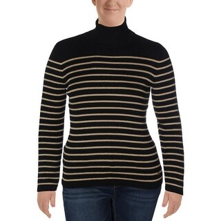Lauren Ralph Lauren Womens Pullover Sweater Striped Metallic