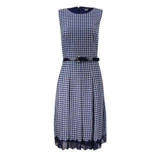 Tommy Hilfiger Women's Belted Houndstooth Fit & Flare Dress - Navy