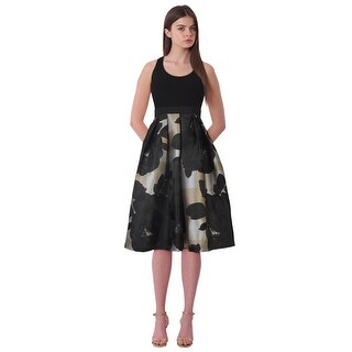Carmen Marc Valvo Crepe Bodice Fit & Flare Floral Midi Cocktail Evening Dress - 4