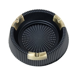 Unique Bargains Round Home Office Metal and Resin Cigarette Cigar Ashtray
