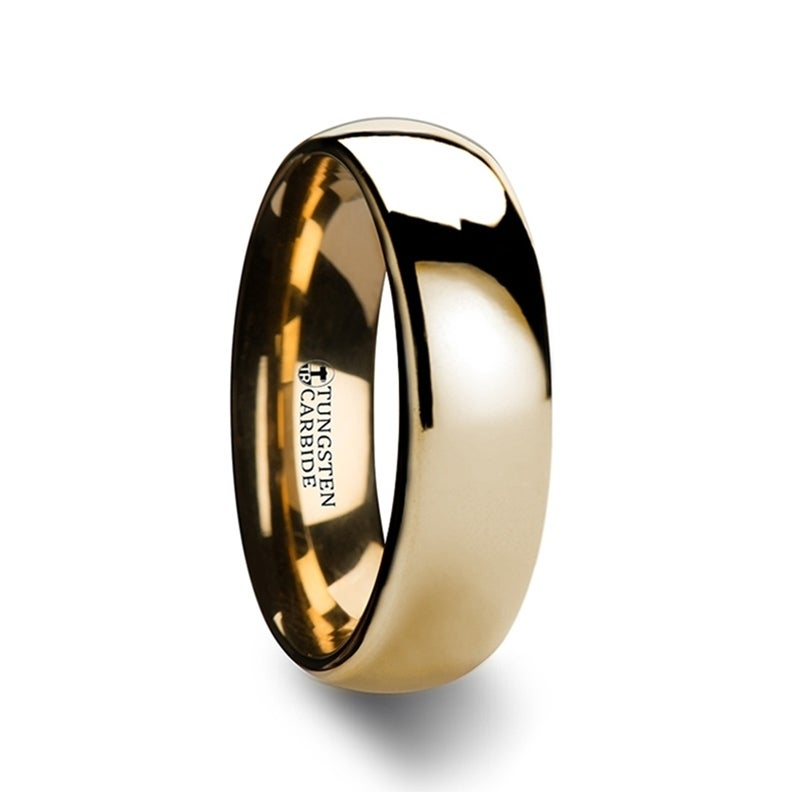 Tungsten Carbide Wedding Ring Domed with Gold Finish Plating 6mm Band