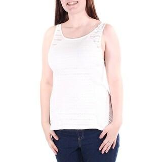 Womens Ivory Sleeveless Jewel Neck Top Size L