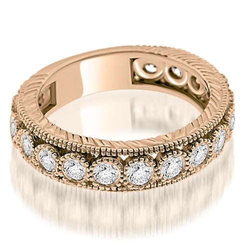 0.63 cttw. 14K Rose Gold Antique Style Round Cut Bezel Diamond Eternity Band