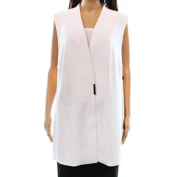 Alfani NEW Bright White Women's Size 8 Seamed 2-Pocket Vest Jacket