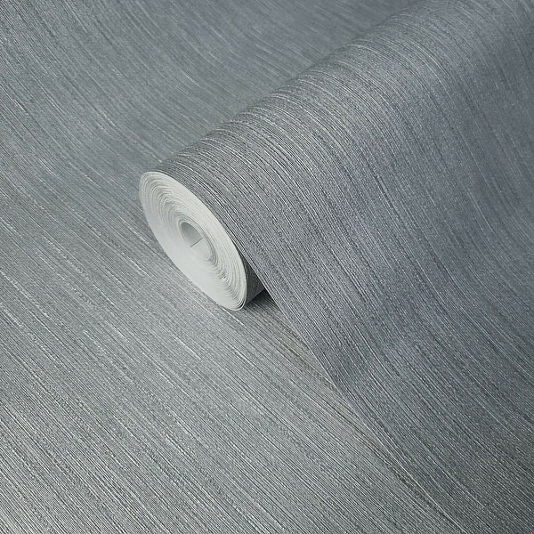 Modern plain embossed White faux fabric textured stria lines texture Wallpaper