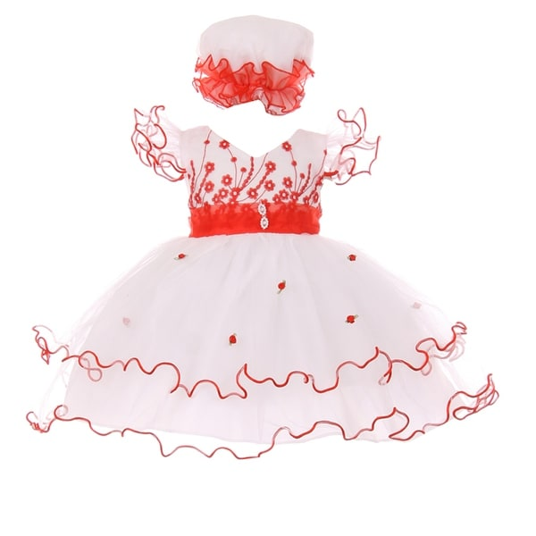 Baby Girls Red White Wire Hem Ruffle Floral Detail Flower Girl Dress