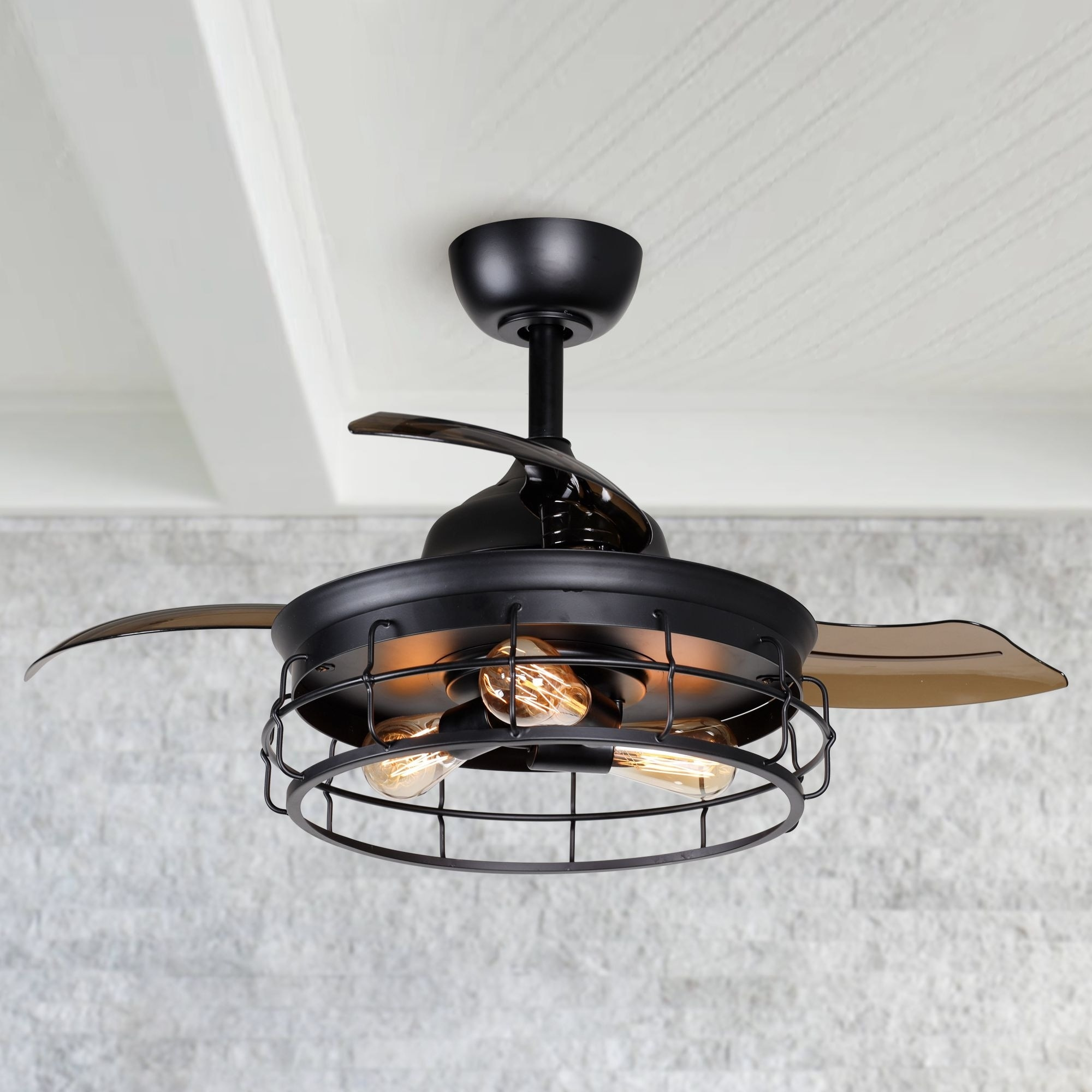 Industrial 36 Inch Black 3 Blade Ceiling Fan With Light Kit 36 In On Sale Overstock 31606587